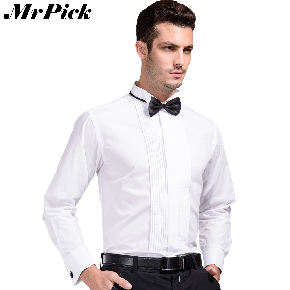 Solid tie men french cuff button shirt 2016 new formal for Expensive mens dress shirts brands