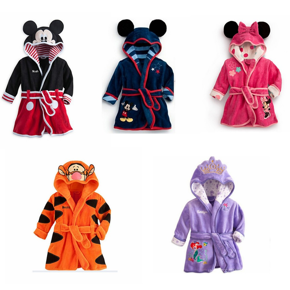 New Sale Lovely Cartoon Flannel Long Sleeve Bathrobe Kids Robes Children Boys Girls Robes Animal Hooded Bath Robes Baby Boy