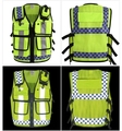 High quality Multi pockets Fluorescent yellow reflective traffic vest road safety clothing safety jacket free shipping