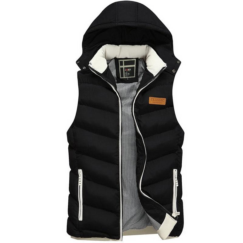 Winter New Men's Vest Autumn Brand Fashion Hooded Warm Thicken Casual Parkas Vest For Men Plus Size L~3XL Pull Homme AF830