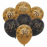 Globos dorados de látex de 12 pulgadas, negro, 30 40 50 60 70 años, adornos de feliz cumpleaños, Helio de aire, suministros de fiesta de globos para boda