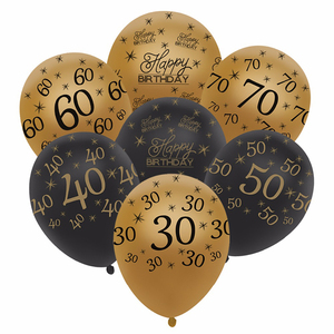 12inch Gold Latex Balloons Black 30 40 50 60 70 Years Happy Birthday Decorations Helium Air Ball Wedding Ballons Party Supplies