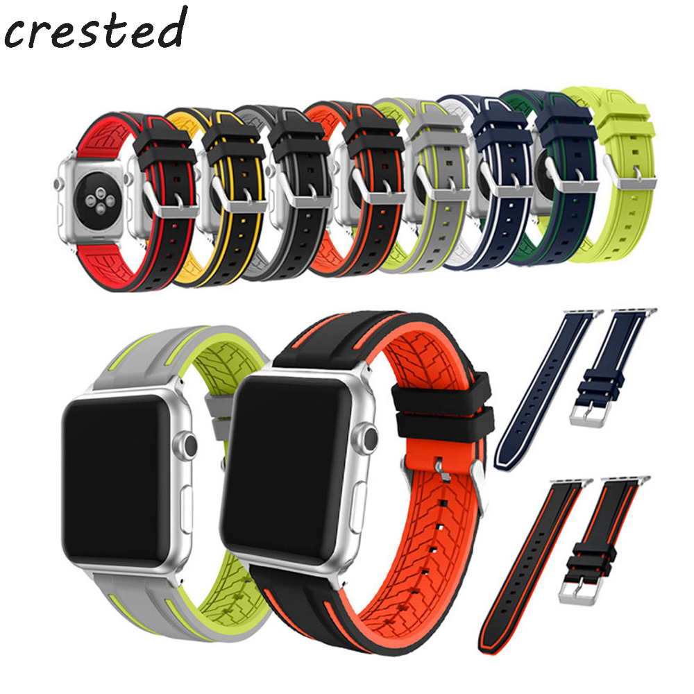 CRESTED colorful sport Silicone strap For apple Watch band 42mm 38mm metal Buckle Bracelet watchband for iwatch Series 3/2/1 jansin 22mm watchband for garmin fenix 5 easy fit silicone replacement band sports silicone wristband for forerunner 935 gps