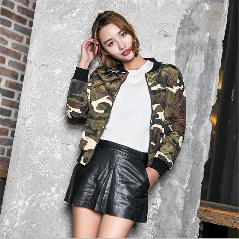 Coats And Jackets Women Loose Camouflage Jacket Baseball Bomber Jacket Women Long Sleeve Zipper Outwear Jacket Plus Size A3733
