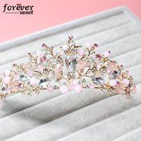 The Bride Jewelry Baroque Color Handmade Beaded Luxury Crystal Tiara Sweet Wedding Accessories