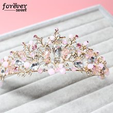 bride hair jewelry Baroque Handmade Beaded luxury pink Crystal Tiara sweet pricess crown wedding hair accessories wholesale