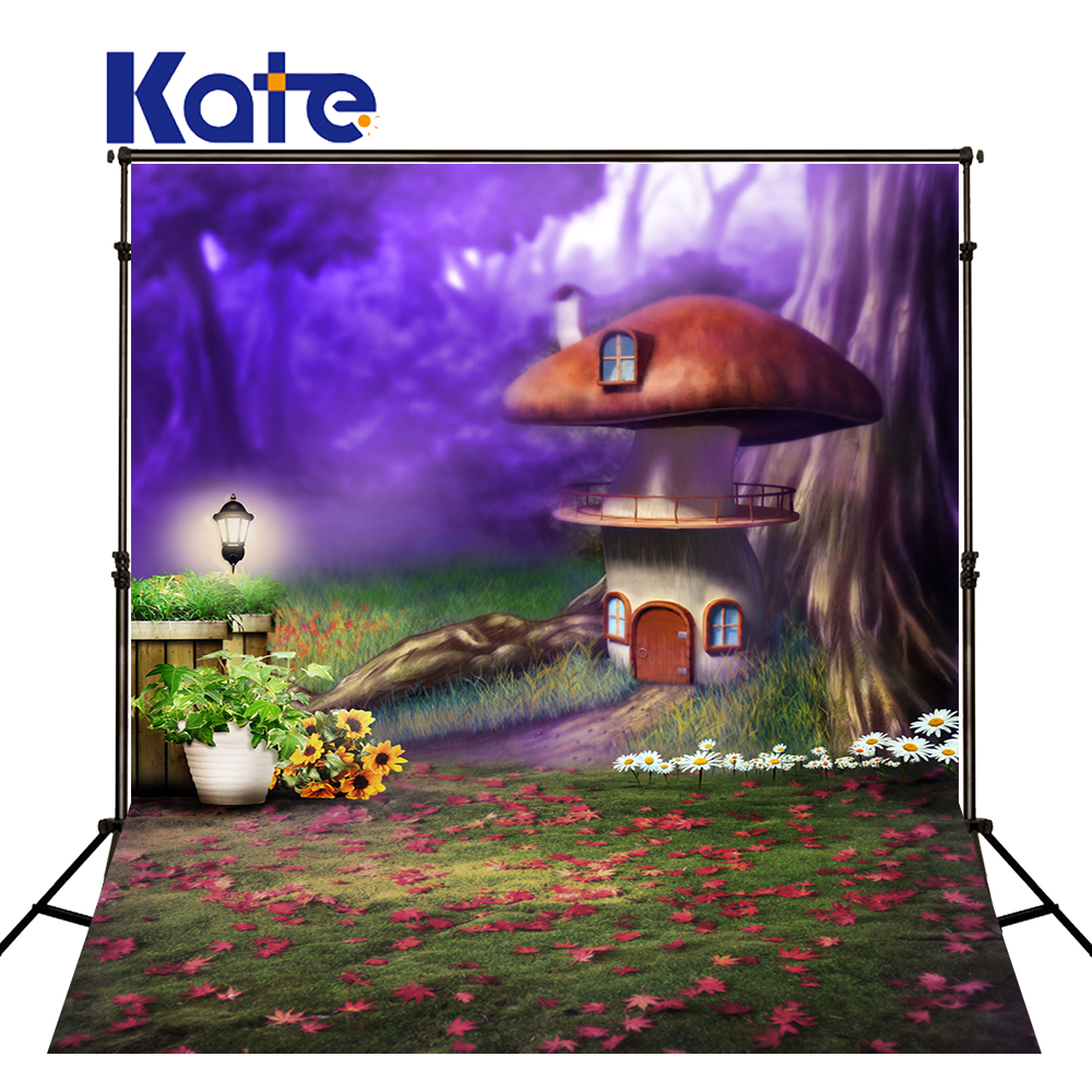 Kate 10x10ft Mushroom Backdrop Fairy Tale Forests Spring Background Scenery Background for Children Photography Shoot vinyl photography background fairy tale