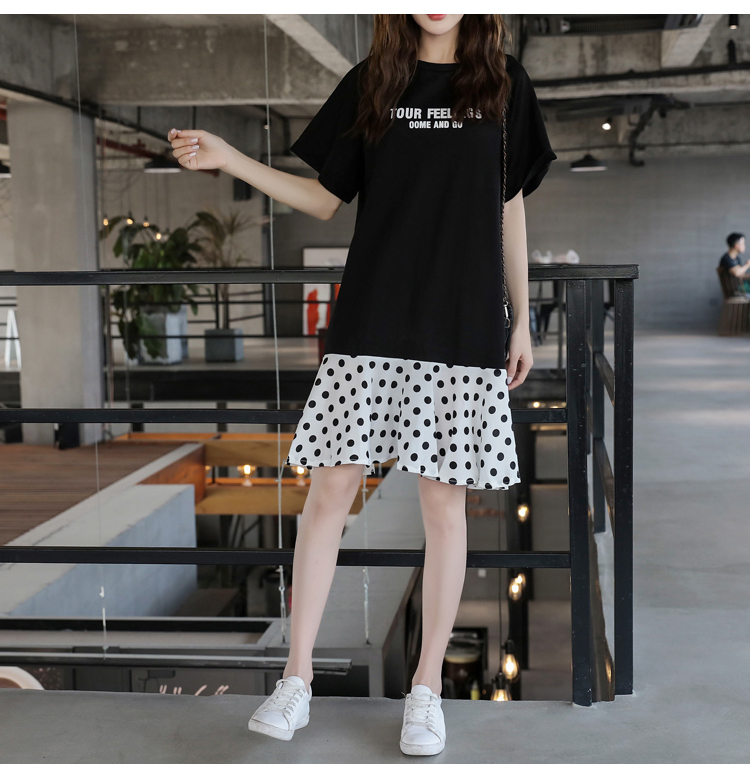 XL-5XL Plus Size Women Casual Dress Summer 2019 Short Sleeve Cotton Patchwork Chiffon Loose Casual Polka Dot Dresses 8