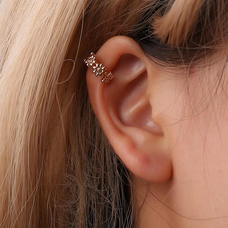 Simple U-shaped Ear Cuff Rose Gold Earrings for Women Flower Ear Clip Female Clip Earrings Without Piercing Oorbellen Pendientes