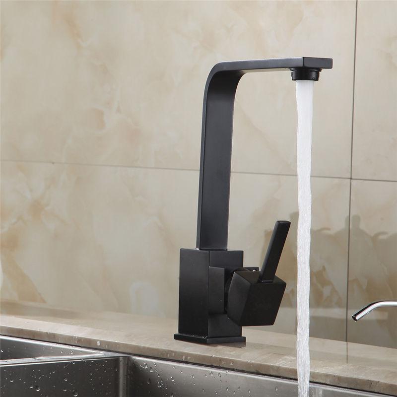 Robinets de cuisine en laiton cuisine évier robinet d'eau 360 rotation pivotant robinet mélangeur support unique monotrou noir mitigeur 7115 - 3