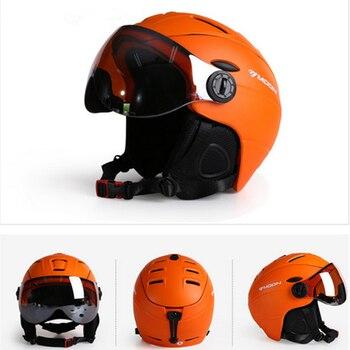 MOON CE Certificate Skateboard Helmet  Integrally-Molded Goggles Skiing Helmet Men Women Outdoor Sports Snowboard Helmet M/L/XL