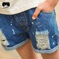 2016 spring new hole  children's wear jeans denim shorts splash-ink children's baby  pans