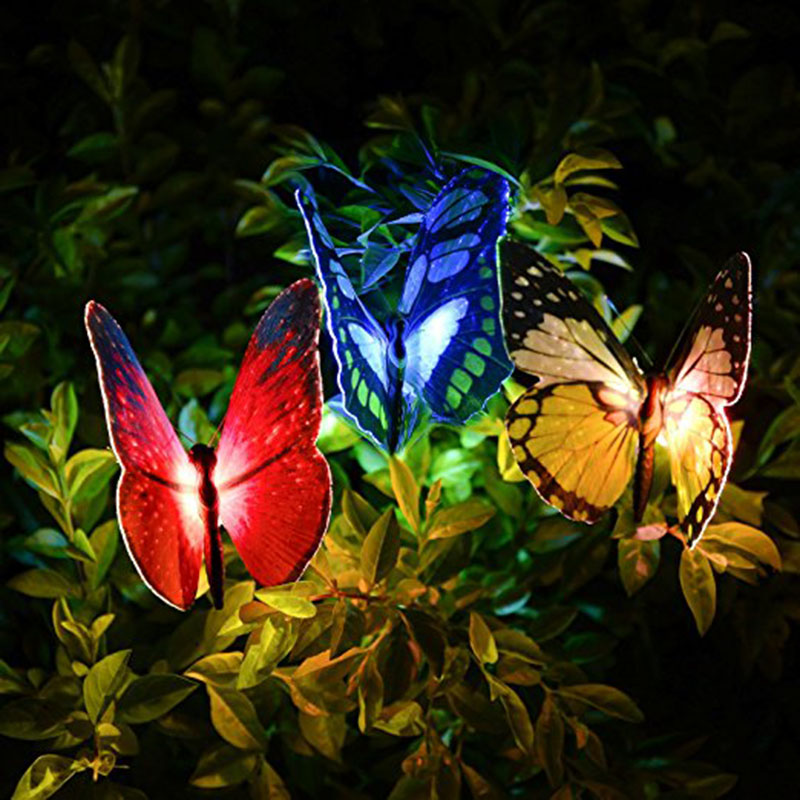 Butterfly Garden Solar Lights Outdoor, 3 Pack Qualife LED Color Changing Stake Lights, Sun Powered Low Voltage Fairy Fiber