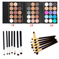 7pcs Eye Brush Set Eyeliner Eyebrow Makeup Brushes + 15 Colors Matte Pigment Glitter Blusher Eyeshadow Palette Pro Cosmetic kits