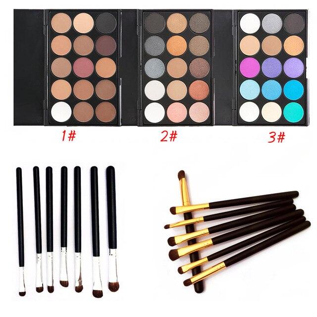 7pcs Eye Brush Set Eyeliner Eyebrow Makeup Brushes + 15 Colors Matte Pigment Glitter Blusher Eyeshadow Palette Pro Cosmetic kits