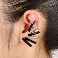 Fashion color rhinestone aros Korea cuff earrings women big stud earrings gold silver plated party  jewelry bijoux brincosKX004