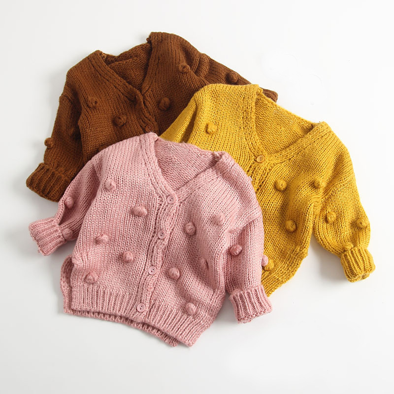 Newborn Baby Sweaters for Girls Cardigans Fashion Dots Knitted Toddler Jackets Coats Long Sleeve Infant Knitwear Tops Child Wear недорого