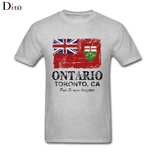 Canada Ontario Flag T Shirt For Men Harajuku White Short Sleeve Custom Plus Size Couple T Shirts(China)