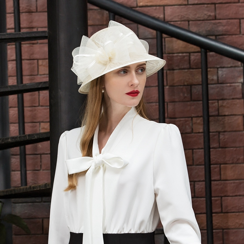 Beige White Linen Wedding Hats for Women Summer Retro Flower Wide Brim Fedoras Ladies Church Formal Kentucky Derby B-8181