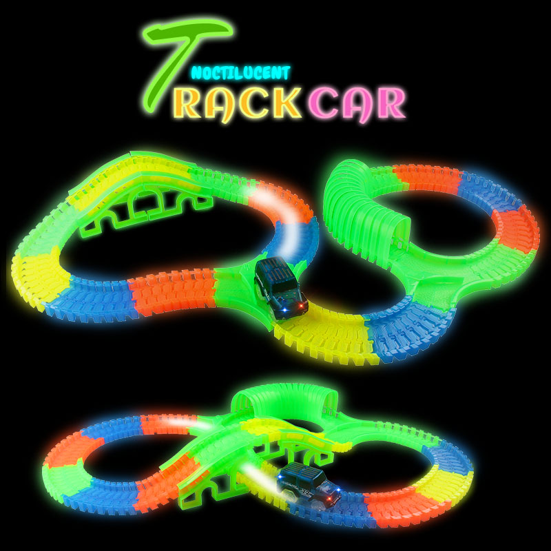 300/150 PCS Bend Flex Curve Slot DIY Track Toy Car Set with  glows in the dark Track LED Car Puzzle Toys for children kids  280pcs miraculous race track bend flex car toy racing track set diy track electric rail car model set gift for kids