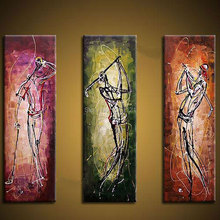 HAND Painted canvas wall painting Business Elite gentalmen modern abstract oil for office decoration picture of golf