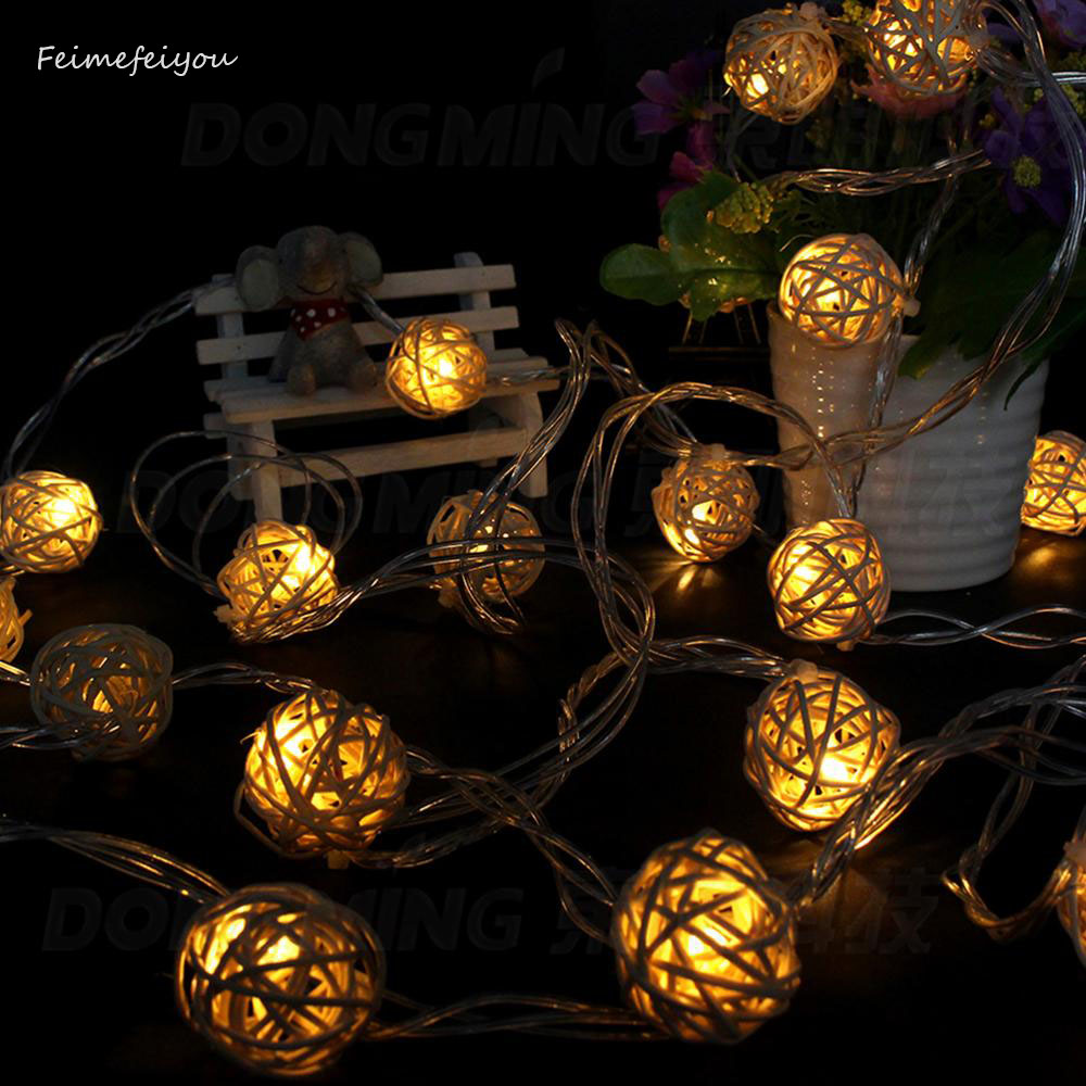 10LEDs 1m 5cm Rope Lights Christmas Decoration Ornaments Wedding Party Hand Weaved Rattan Ball Lantern String Led Lighting