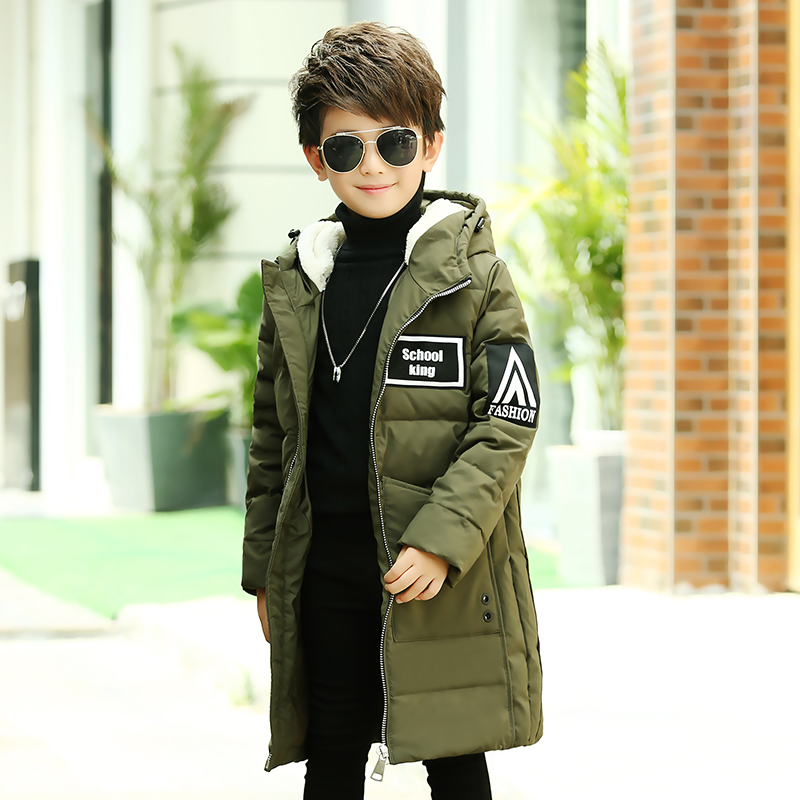 The children down in the long section of the new boys thick fur collar warm winter coat male big boy season clearance 2017 winter new clothes to overcome the coat of women in the long reed rabbit hair fur fur coat fox raccoon fur collar