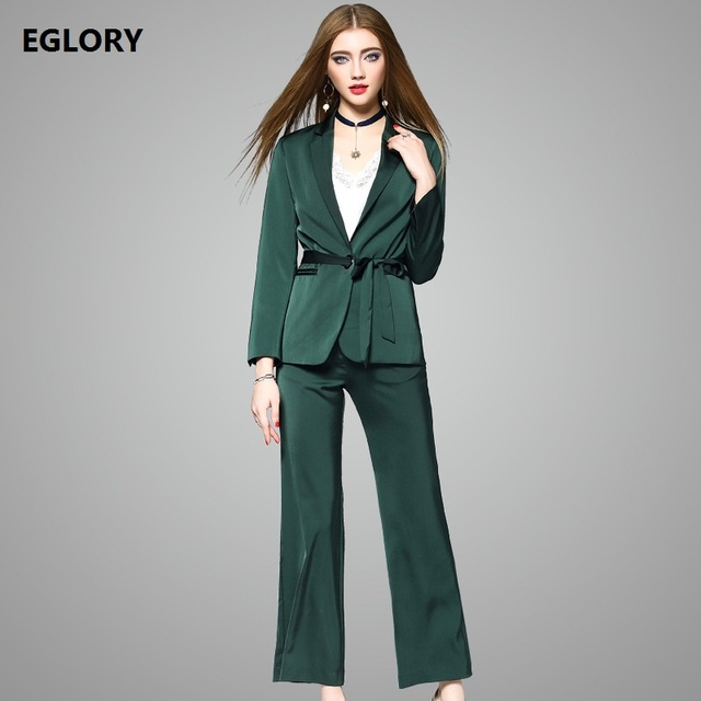 4b819183f87 New 2017 Autumn Office Work Women Notched Collar Ribbon Belts Green Coat  Blazer+Full Length Green Trousers Pant Suit Set 2 pcs