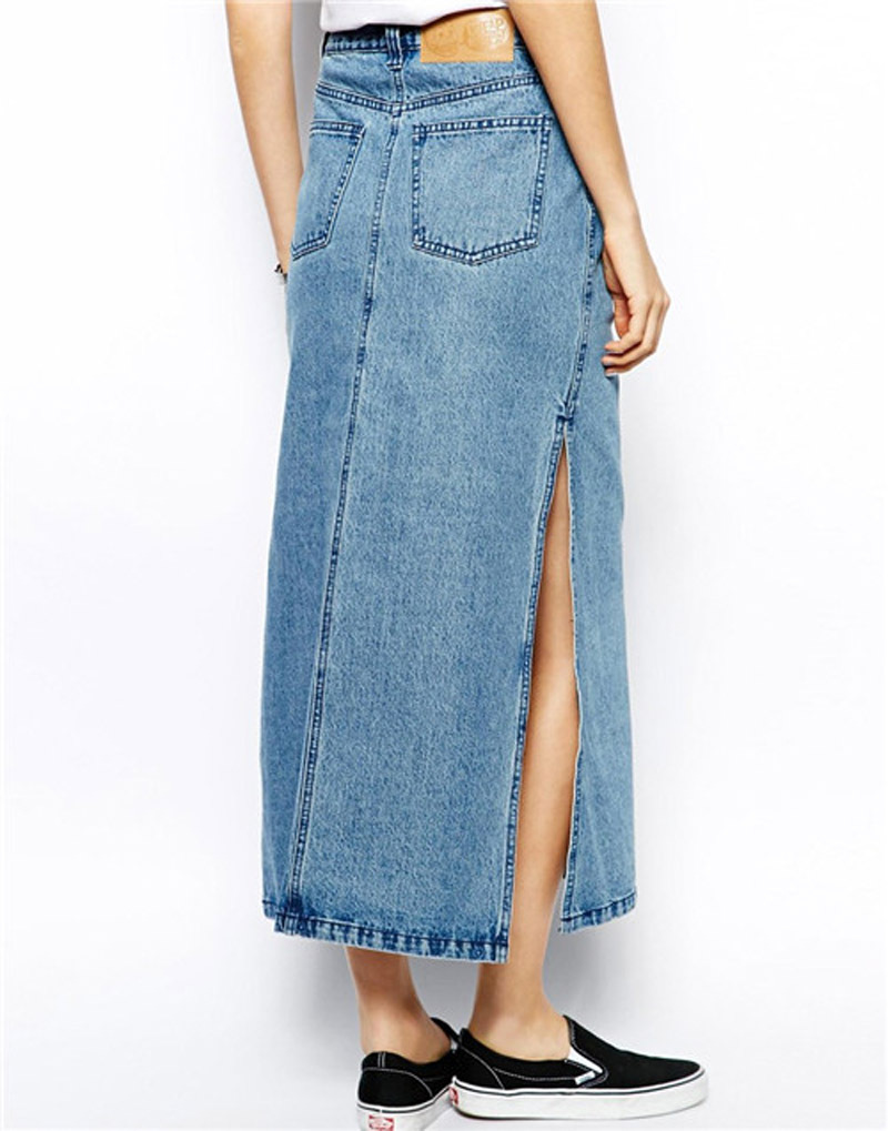 Autumn new 2014 long denim skirt female side of the slit long jean ...