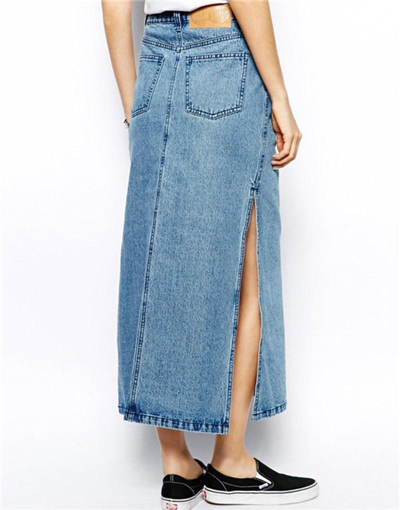 Denim Split Skirt - Dress Ala