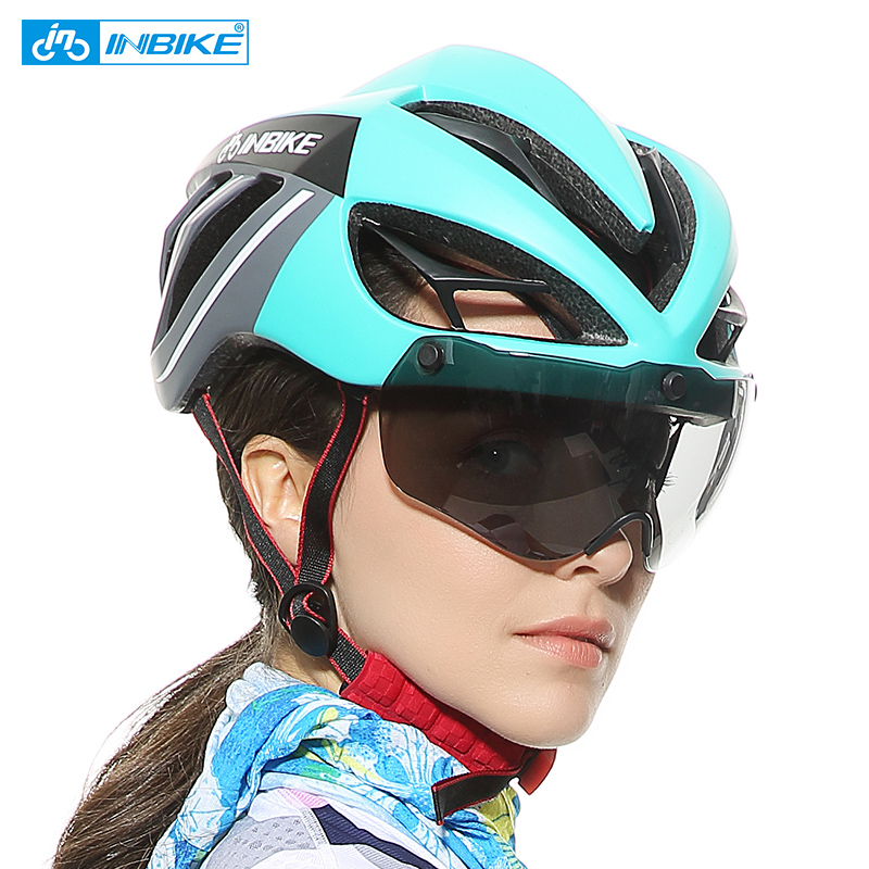 501ba7962e8 INBIKE Men Women Bicycle Helmet With Glasses Integrally-molded Cycling  Helmets Protect Head Safety Cap