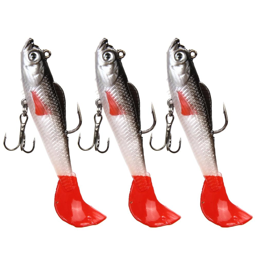 Wholesale Price 3Pcs Lead Head Soft Fishing Lures Long T Tail Fishing Lure Treble Hook Bait Fake Fishing Lures H1E1