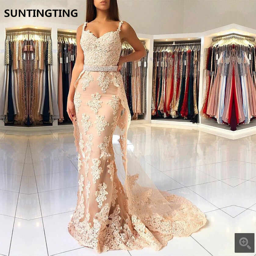 fashion design big discount exquisite design Champagne 2019 evening Dresses Mermaid Sweetheart Beaded ...