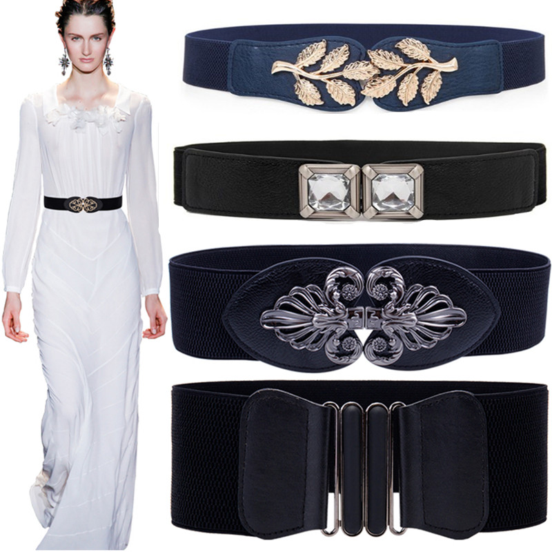 New Free Shipping Stretch Wide Waist Fashion Gold Large Buckle Belt Girdle Female Body Sculpting Cummerbund Elastic Solid Women