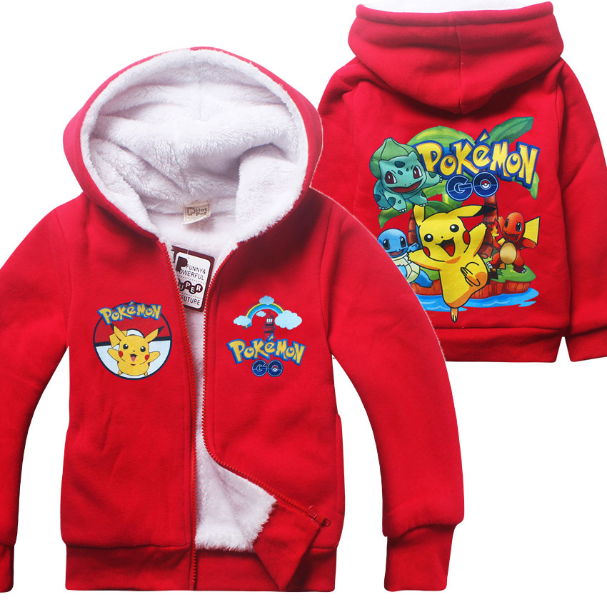 2017 New Winter Cartoon Cotton Sweatshirt POKEMON Red Kaka Kids Girls Clothing Long Hoodie Zip Retail