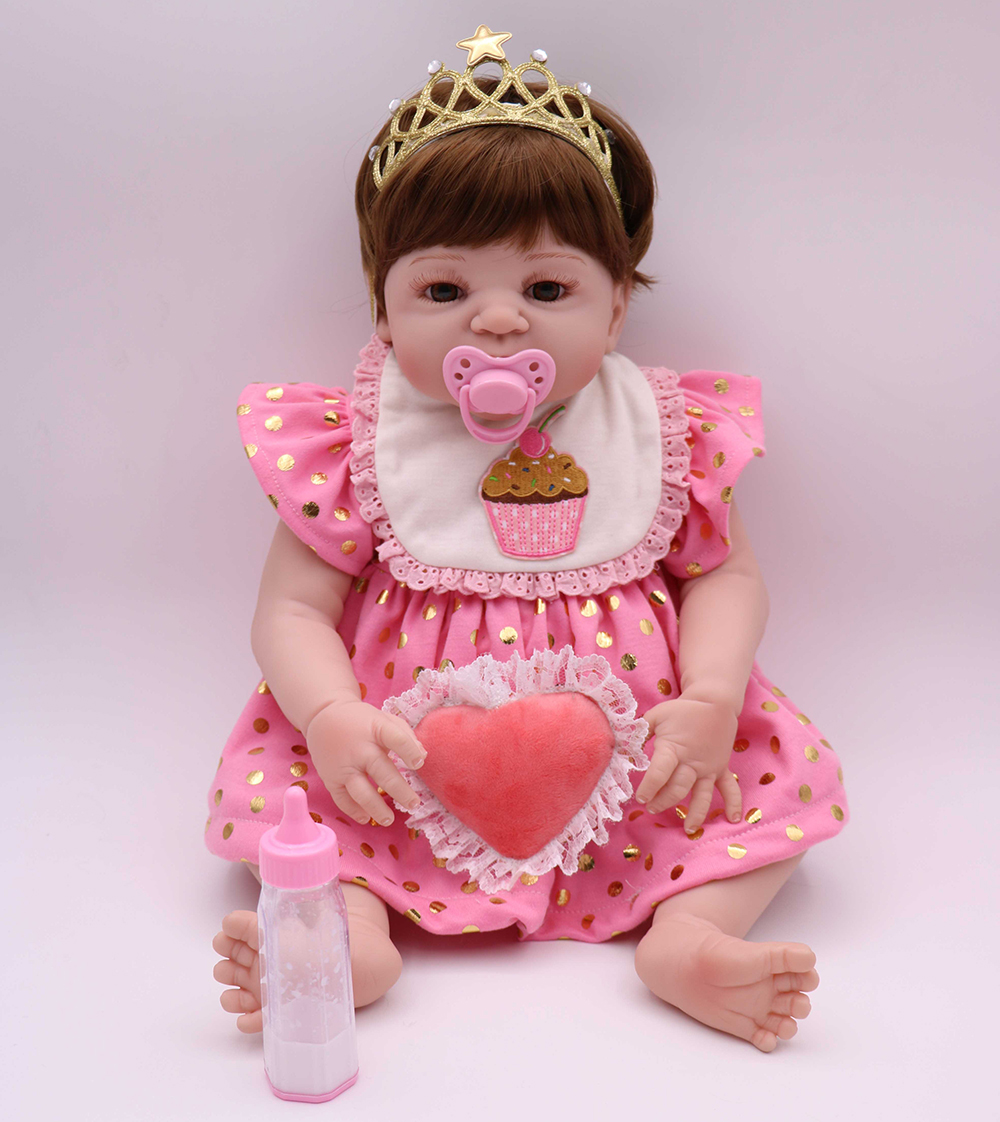 Pursue 22/57 cm Soft Vinyl Full Body Silicone Reborn Baby Girl Doll Toys with Baby Doll Nipple Bottle House Play Doll Gift Girl pursue 22 56 cm big smile face reborn boy toddler baby doll cotton body vinyl silicone baby boy doll for children birthday gift