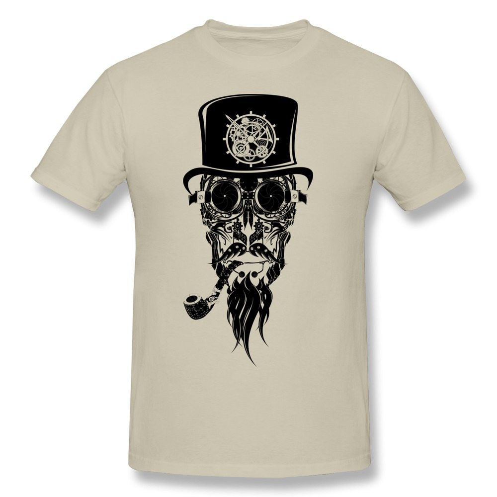 cotton men t shirt steampunk beard man printing cool pipe