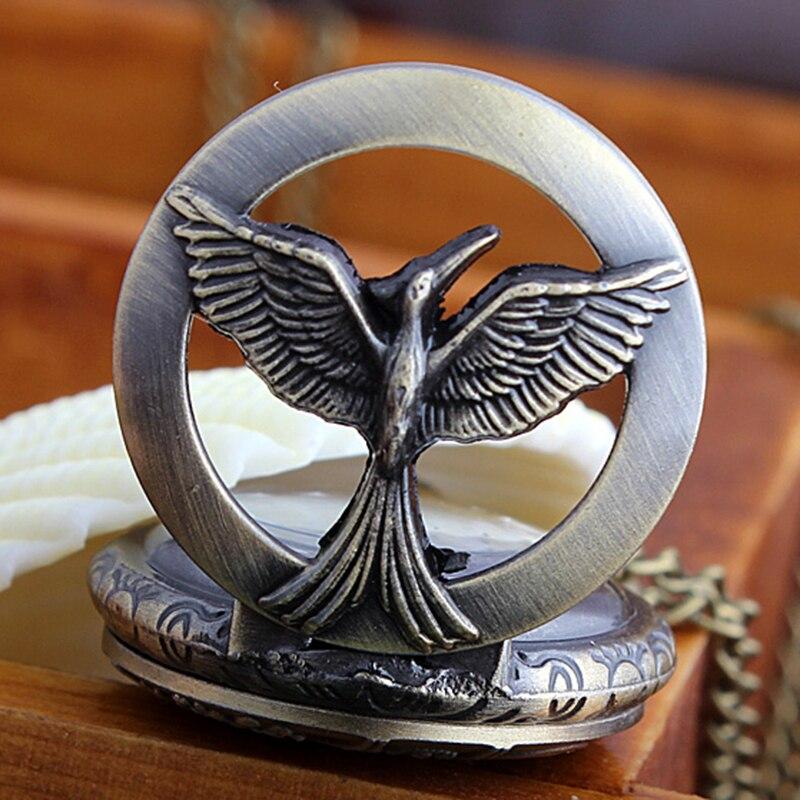 Vintage Bronze The Hunger Games Hollow Flamingo Quartz Pocket Watch With Chain Bird Pendant Necklace Watch For Women Men Clock