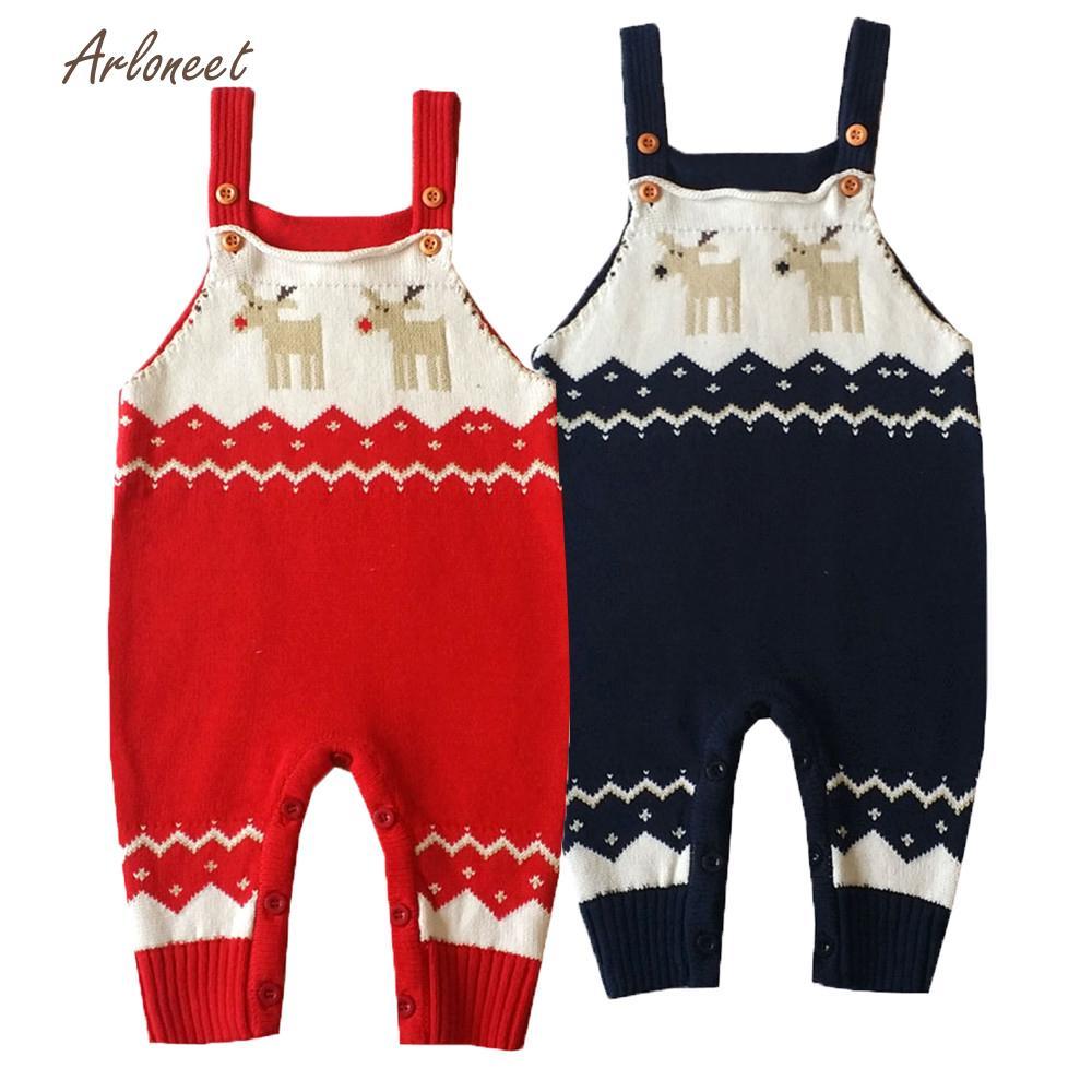 ARLONEET girls sweaters Romper boys sweaters fashion Shoulder Strap Christmas Deer Jumper Knitted Sweater DEC4
