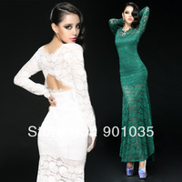 Free Shipping New 2013 Sexy Women Mesh Perspective Open Back Bodycon Stretch Party Pencil Winter Lace