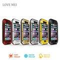 Para el iphone 6 s amor Mei a prueba de choques impermeable Gorilla Glass de aluminio del Metal teléfono caso de la cubierta para el iphone 6 4.7 pulgadas
