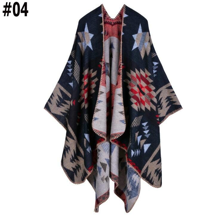 2019 Women Autumn Winter Aztec Oversized Poncho Cashmere Imitation Checker Capes Comfy Warm Knit Cloaks