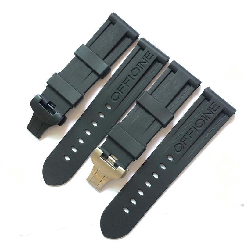 TJP Original High Quality Vanilla 24mm Black Natural Rubber Watchbands For Panerai PAM111 Strap Bracelet With Butterfly Buckle lukeni 24mm camo gray green blue yellow silicone rubber strap for panerai pam pam111 watchband bracelet can with or without logo
