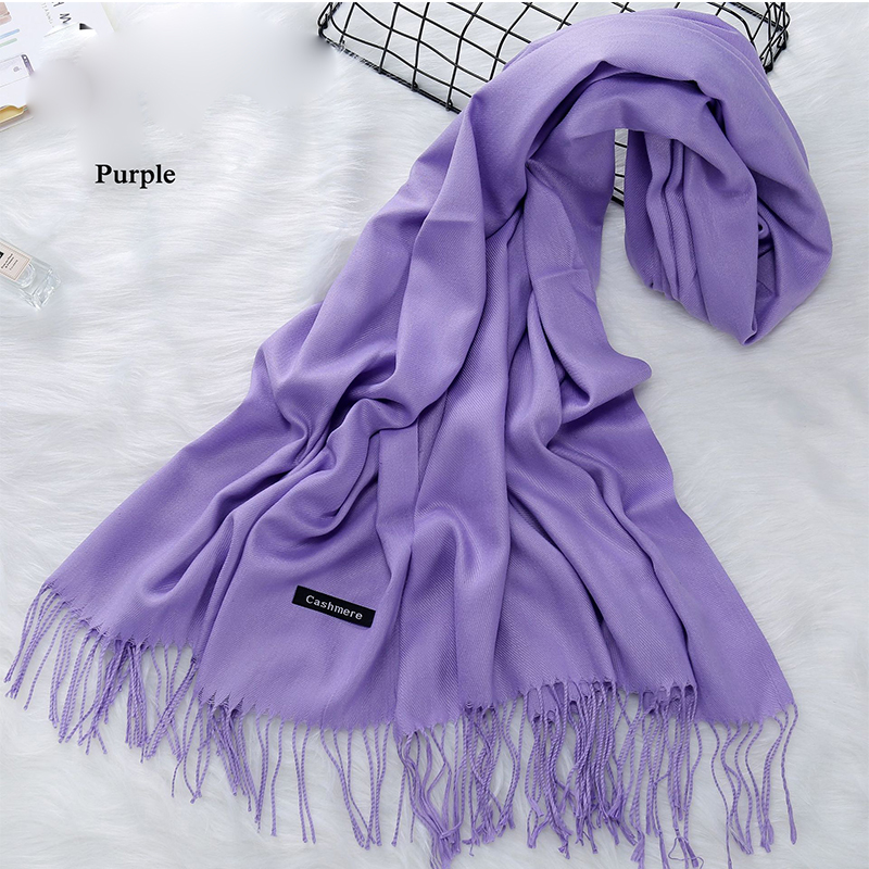 Men Fashion Cashmere Scarves Solid Color Long Shawl Wraps Winter Neck Warm Scarf