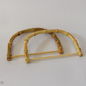 Image 4 - 10 sztuk za dużo rozmiar 18.5X12.5 CM natura kolor bambusowa torba uchwyt DIY akcesoria torebkowe drewniane trzciny torebka rama chiny Online