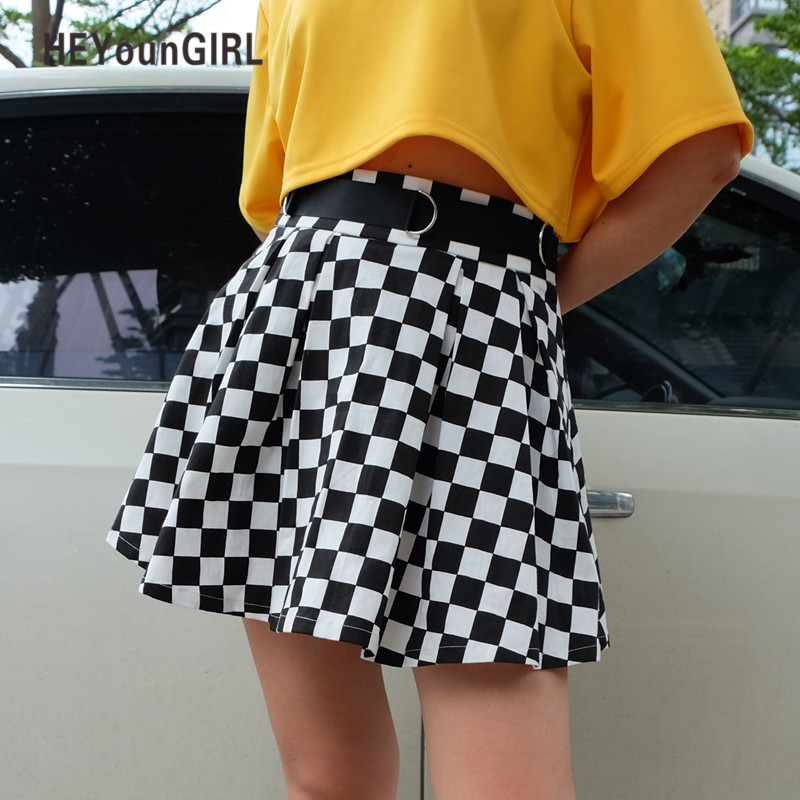 HEYounGIRL Pleated Checkerboard Skirts Womens High Waisted Checkered Skirt Harajuku Dancing Korean Style Sweat Short Mini Skirts