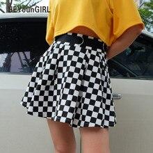 HEYounGIRL Pleated Checkerboard Skirts Womens High Waisted Checkered Skirt Harajuku Dancing Korean Style Sweat Short Mini Skirts