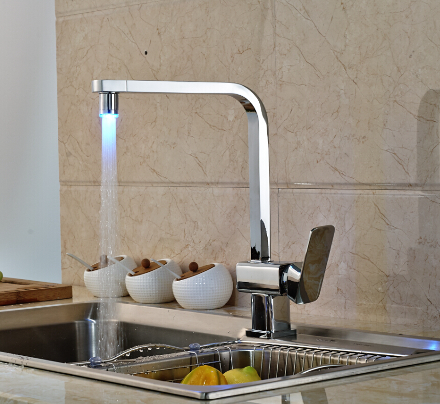 LED Spout Swivel Spout Kitchen Faucet Vessel Sink Mixer Tap Chrome Finish Solid Brass