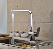 LED Носик Поворотный Излив Кухонный Кран Сосуд Раковина Смеситель Хромированная Отделка Твердой Латуни