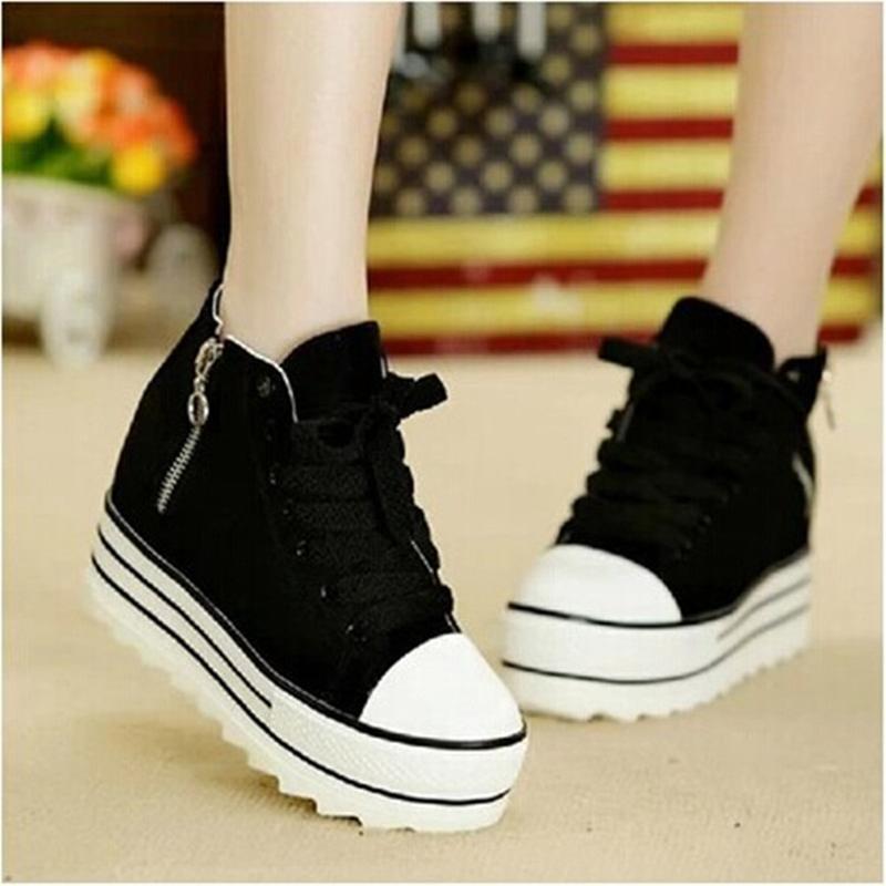 À Toile Chaussures coréen Éponge Automne Loisirs Semelles Noir blanc Cravate Épaisses Chaussures Nouvelle Printemps Et Étudiant Haute WqX6nU6R